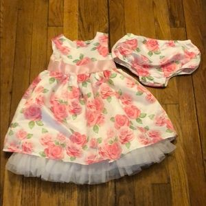 LITTLE ME 2 pc BIG ROSE FLORAL DRESS W/PANTY SZ 24